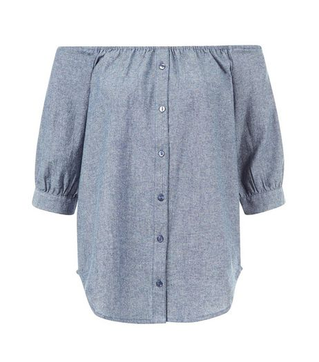 Influence Blue Button Front Bardot Neck Top | New Look
