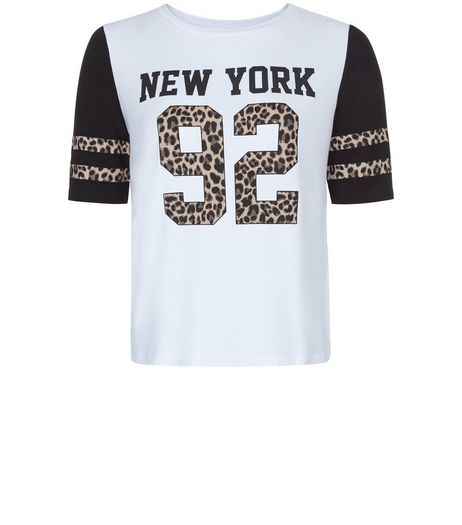 Teens White New York 92 Leopard Print T-Shirt | New Look