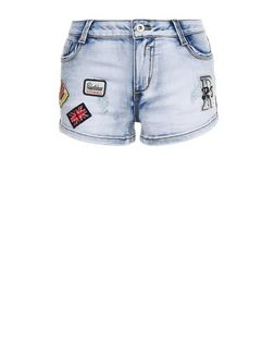 Cameo Rose Blue Badge Denim Shorts | New Look
