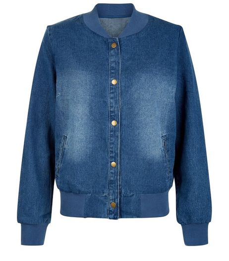Cameo Rose Blue Denim Bomber Jacket | New Look