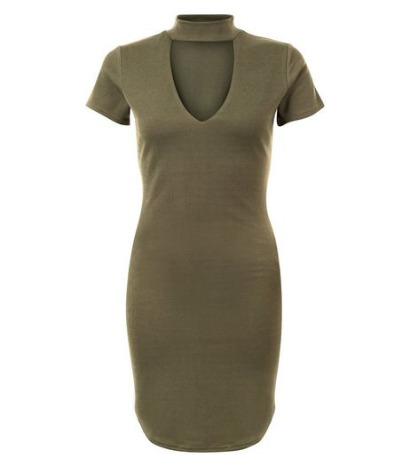 Cameo Rose Khaki Cut Out Front Bodycon Dress | New Look