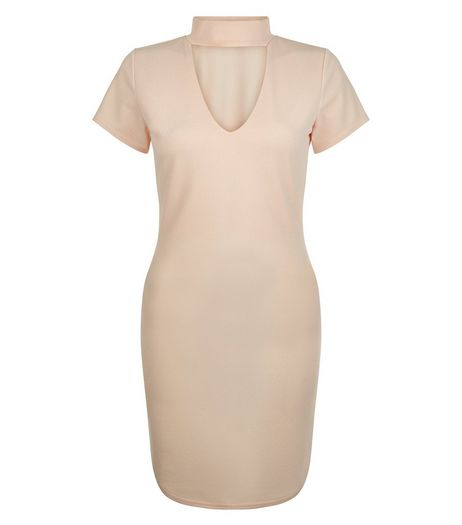Cameo Rose Shell Pink Cut Out Front Bodycon Dress | New Look