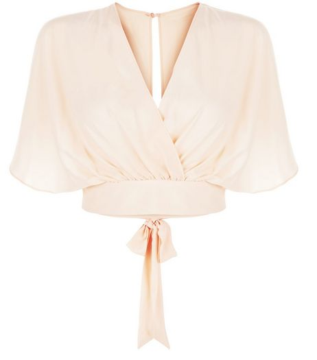 Cameo Rose Shell Pink Tie Back Crop Top | New Look
