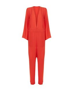Innocence Red Plunge Long Sleeve Jumpsuit | New Look