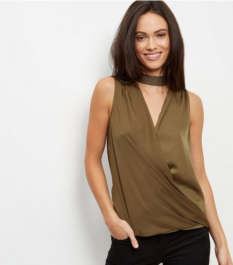Khaki Sateen Choker Sleeveless Top  | New Look