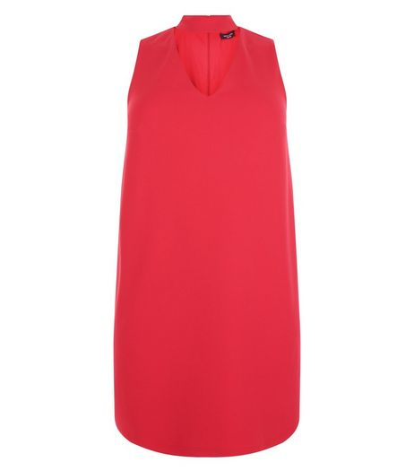 Curves Red Cut Out Tunic Dress | New Look