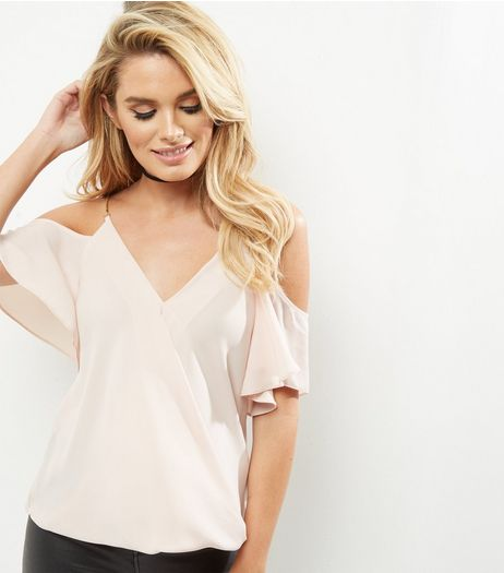 Shell Pink Chain Strap Cold Shoulder Wrap Front Top  | New Look