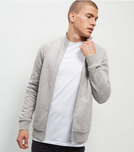 Grey Funnel Neck Zip Up Sweater  | New Look