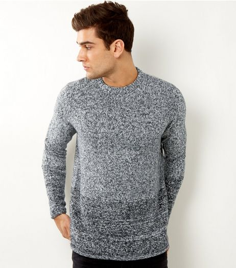 Grey Flecked Colour Block Jumper | New Look