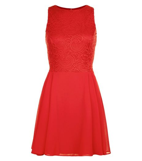 Red Chiffon Lace Panel Skater Dress  | New Look