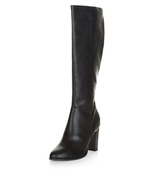 Black Leather-Look Metal Trim Knee High Boots