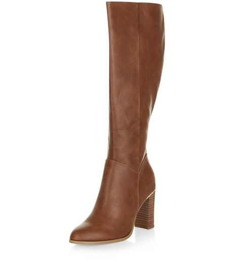 Tan Leather-Look Metal Trim Knee High Boots  | New Look