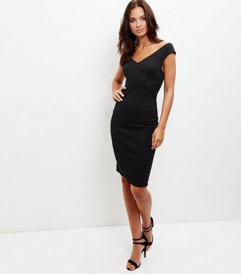 Black Ribbed V Neck Bodycon Dress