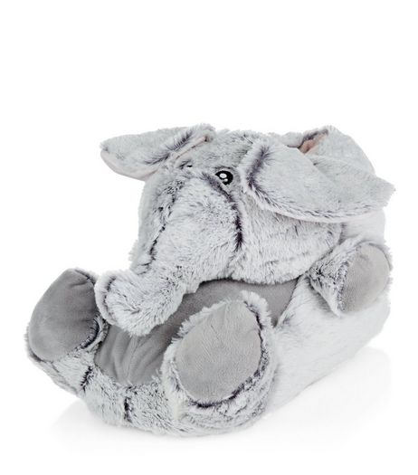 Teens Grey Faux Fur Elephant Slippers | New Look