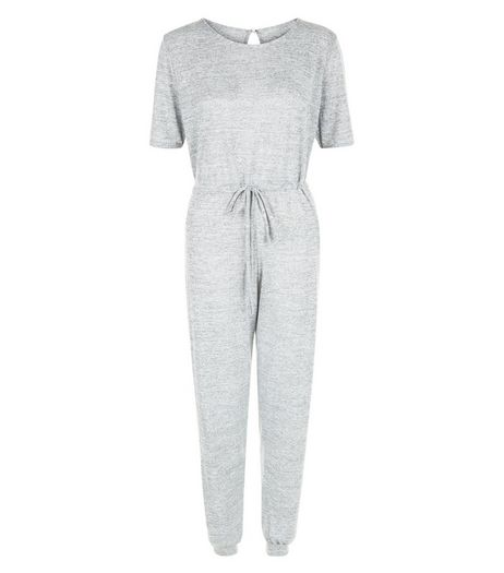 Cameo Rose Grey Fine Knit Short Sleeve Jumpsuit | New Look