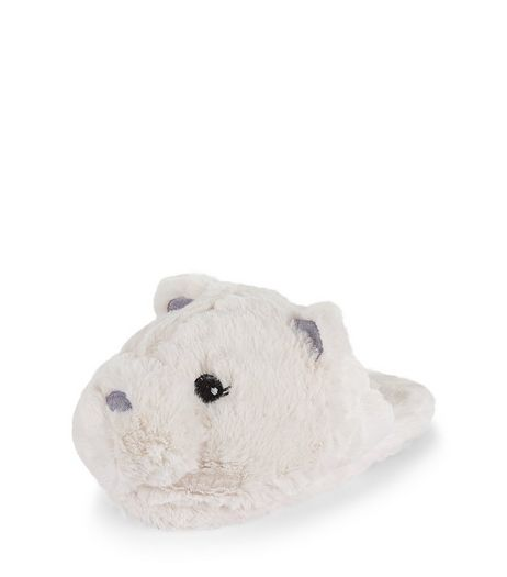 Teens Cream Faux Fur Polar Bear Slippers | New Look