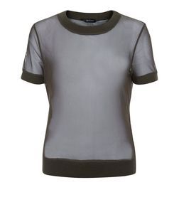Khaki Mesh Contrast Trim T-Shirt | New Look