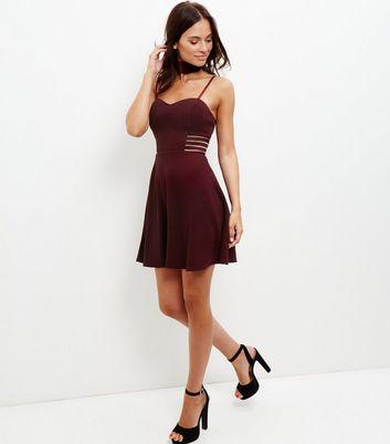 Burgundy Sheer Panel Skater Dress