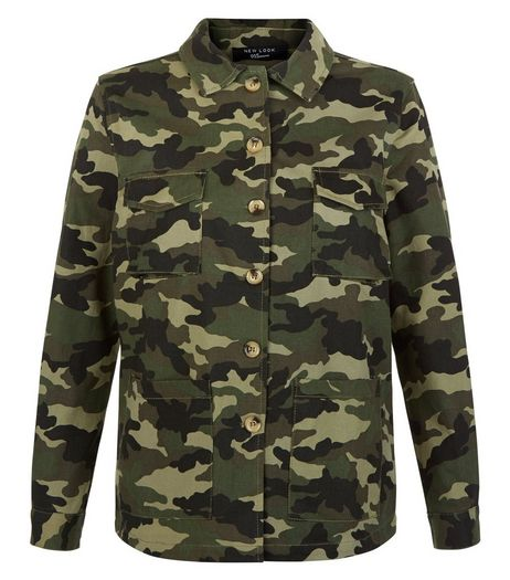 Teens Khaki Camo Print Shacket | New Look
