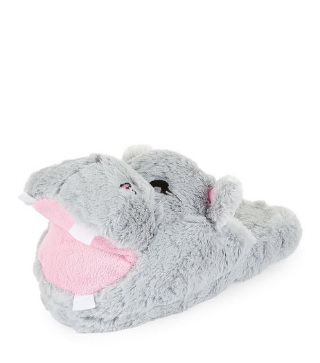 Teens Grey Faux Fur Hippo Slippers | New Look