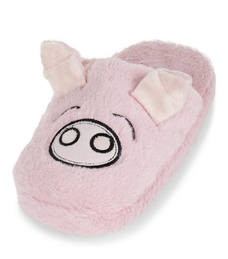 Teens Pink Faux Fur Pig Slippers | New Look
