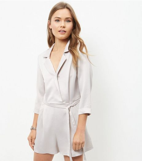 Grey Sateen 3/4 Sleeve Tux Playsuit  | New Look