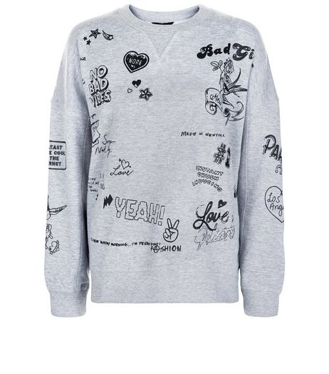 Grey Tattoo Print Sweater  | New Look