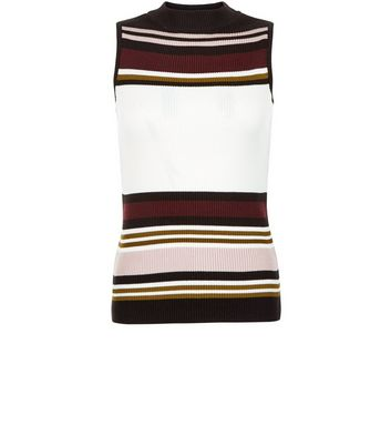 Petite White Stripe Funnel Neck Top