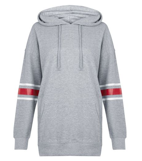 Grey Stripe Sleeve Longline Hoodie  | New Look