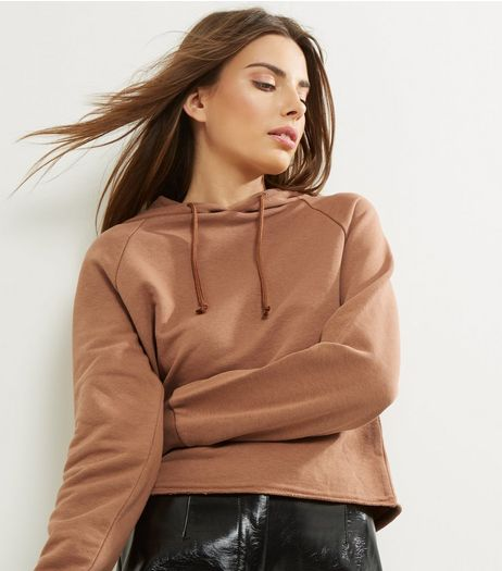 Brown Cropped Hoodie | New Look