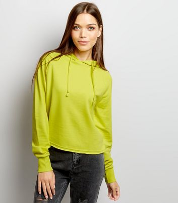 Yellow Long Sleeve Cropped Hoodie
