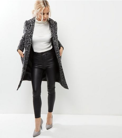 Petite Grey Leopard Print Longline Coat | New Look