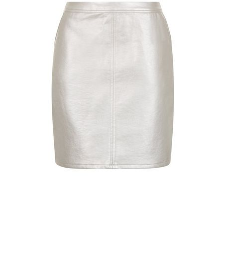 Teens Silver Metallic A-Line Skirt | New Look