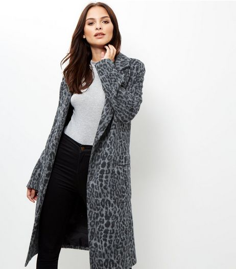 Tall Grey Animal Print Longline Coat  | New Look