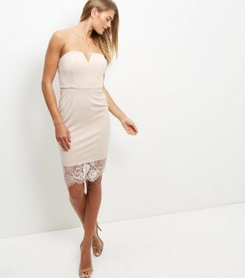Shell Pink Bandeau Lace Hem Bodycon Dress