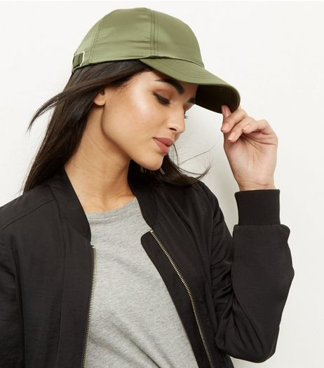 Khaki Satin Cap | New Look