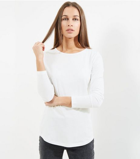 Tall White Long Sleeve Crew Neck T-Shirt | New Look