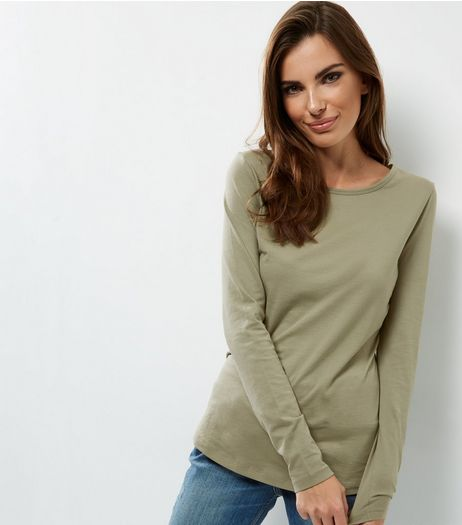Tall Khaki Long Sleeve Crew Neck T-shirt | New Look