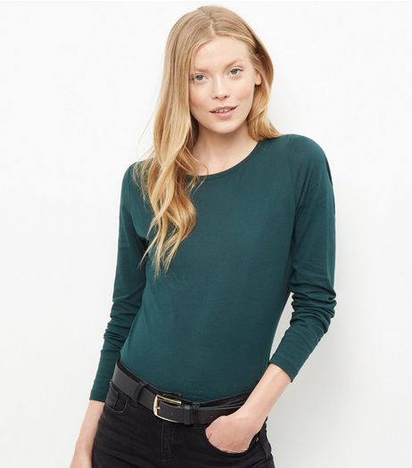 Tall Dark Green Long Sleeve Top | New Look