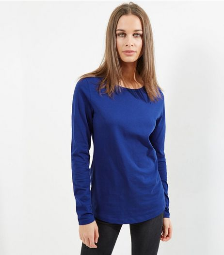 Tall Blue Long Sleeve Crew Neck T-Shirt | New Look