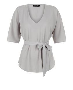 Petite Grey V Neck Belted Top | New Look