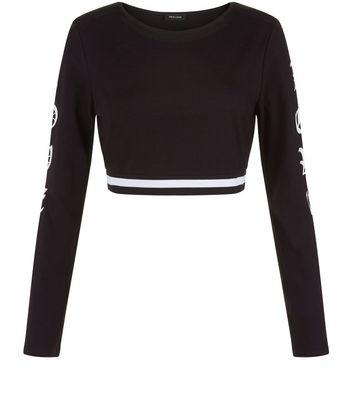 black-love-long-sleeve-crop-top