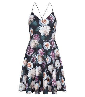 Petite Black Floral Print Skater Dress