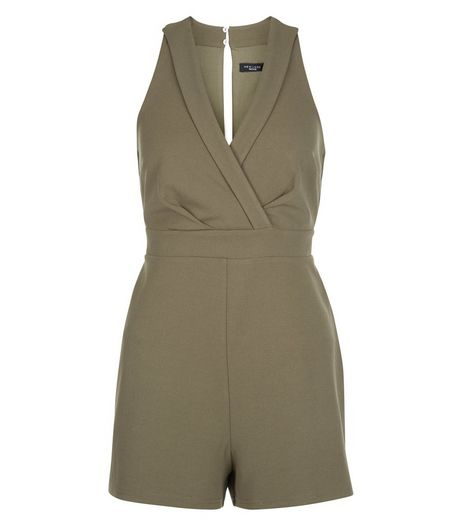 Petite Khaki V Neck Wrap Playsuit | New Look