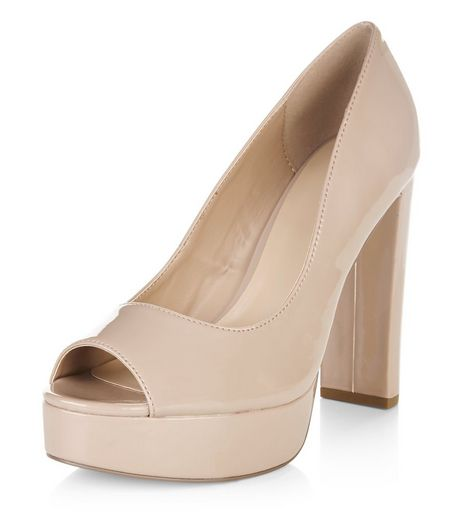 Pink Peep Toe Platform Block Heels  | New Look