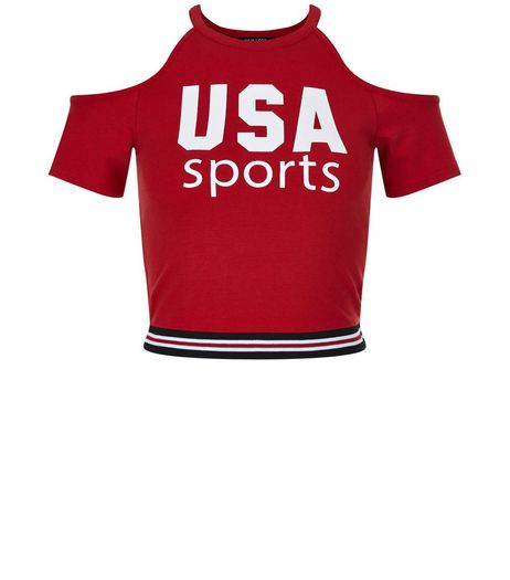 Teens Red USA Sports Cold Shoulder Top | New Look