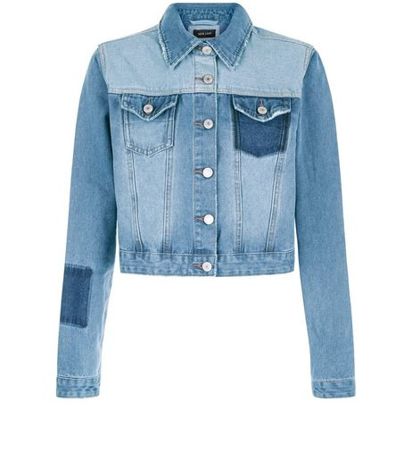 Blue Colour Block Denim Jacket  | New Look