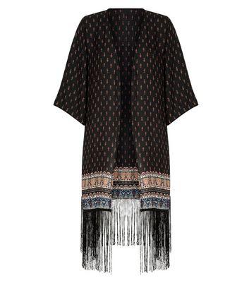apricot-black-aztec-print-fringed-kimono