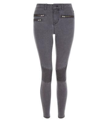 Dark Grey Super Skinny Zip Front Jeans