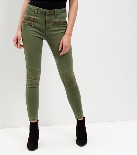 Khaki Zip Pocket Super Skinny Jeans  | New Look